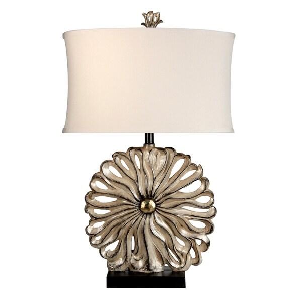 Thalia Black and Silver Table Lamp - White Softback Fabric Shade