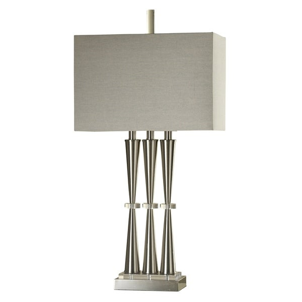 Brushed Steel Table Lamp - Taupe Hardback Fabric Shade