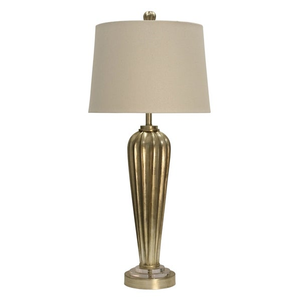 Arcene Silver Table Lamp - Beige Hardback Fabric Shade