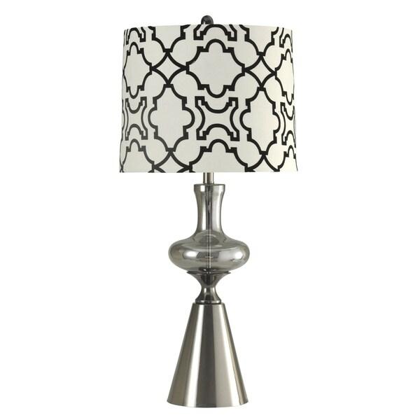Cadott Smoke Glass And Stainless Table Lamp - Black And White Designer Print Shade Hardback Fabric Shade