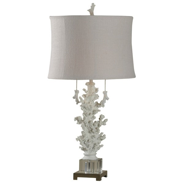 Palm Harbor Crystal Glass Table Lamp - Beige Shade