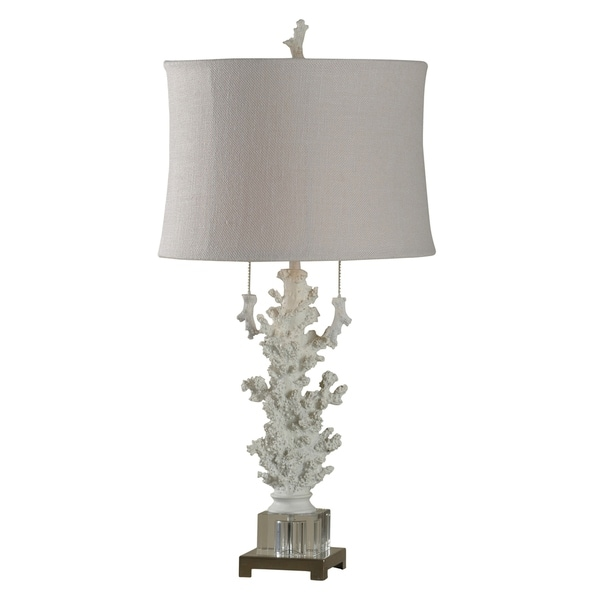 StyleCraft Palm Harbor White Table Lamp - White Softback Fabric Shade