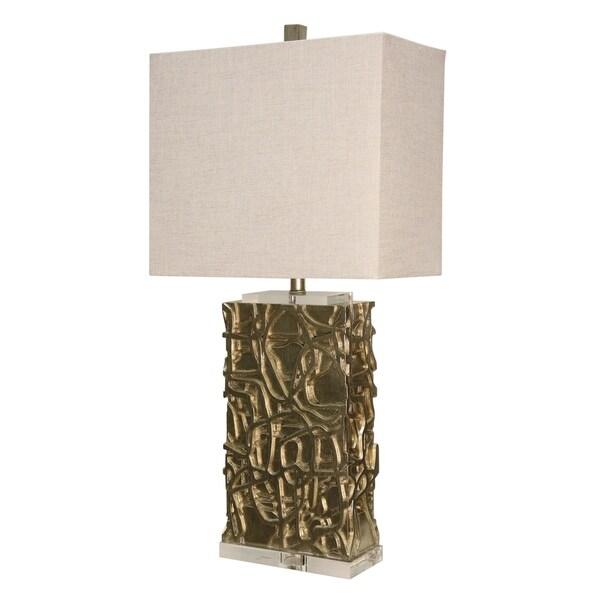 Arcene Silver Table Lamp - White Hardback Fabric Shade