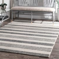 "Havenside Home Grey Butler Power-Loomed Stripes Area Rug - 9' 10"" x 14'"