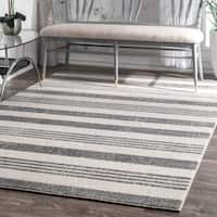 Strick & Bolton Grey Butler Power-loomed Stripes Area Rug - 9'10 x 14'