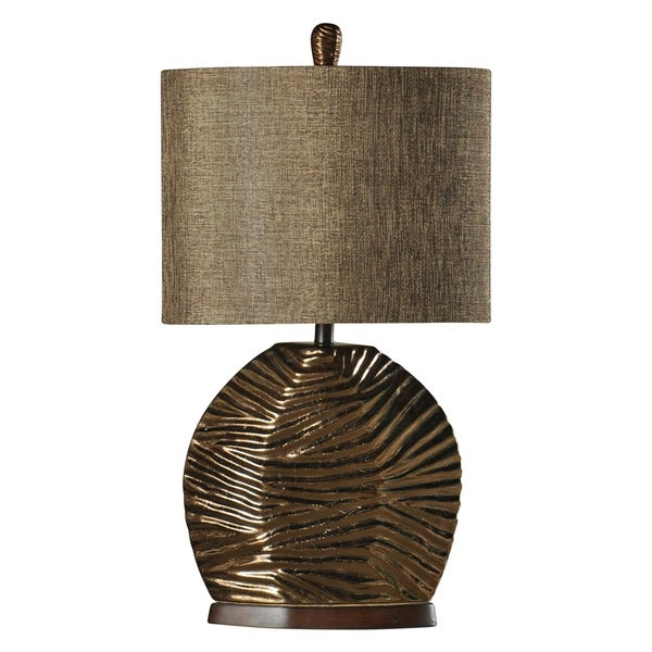 Padova Ceramic Gold Table Lamp - Brown Hardback Fabric Shade