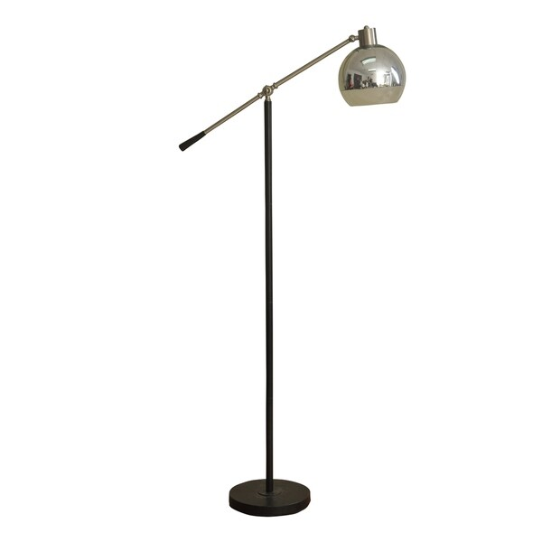 Holloran Black And Brushed Steel Floor Lamp - Frosted Glass Shade
