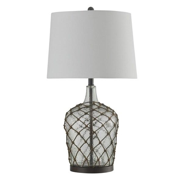 StyleCraft Cayos Clear Table Lamp - White Hardback Fabric Shade