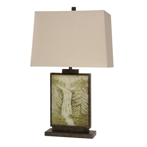 Goldsboro Dark Brown and Green Table Lamp - White Hardback Fabric Shade