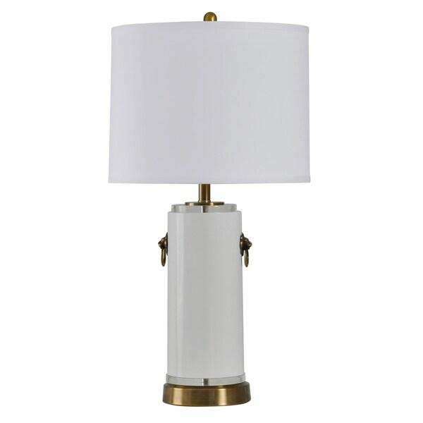 StyleCraft Panthera White Table Lamp - White Hardback Fabric Shade