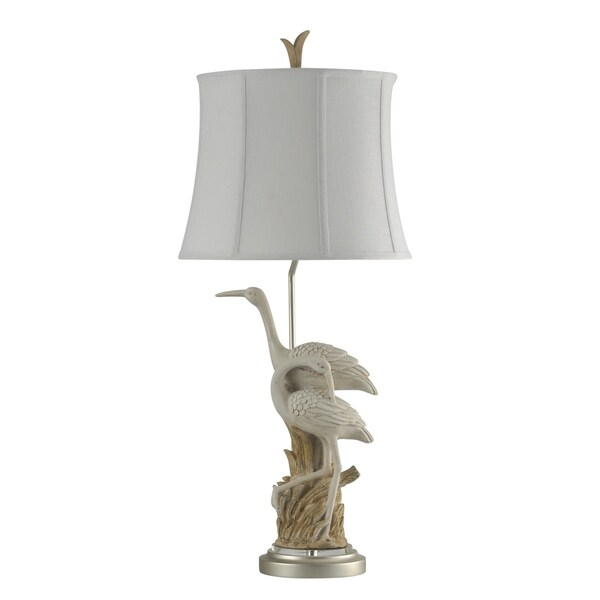 Cotton Bayou Brown And White Table Lamp - White Softback Fabric Shade