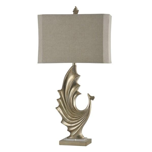 StyleCraft Bersa Silver Table Lamp - Taupe Softback Fabric Shade