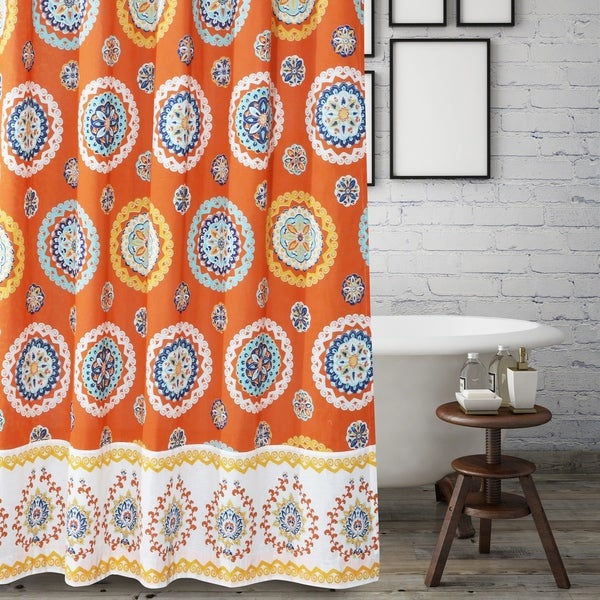 Barefoot Bungalow Rozario Tangerine Shower Curtain
