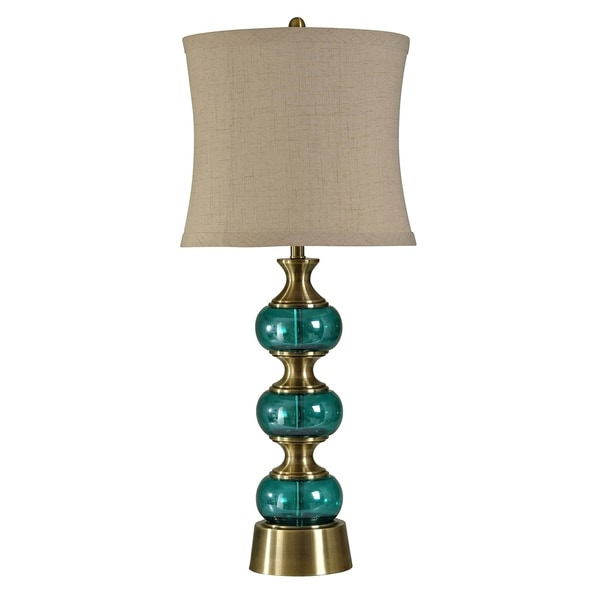 Brass And Teal Table Lamp - Natural Linen Softback Fabric Shade