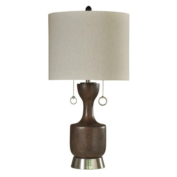 Walnut Ridge Table Lamp - Cream Hardback Fabric Shade