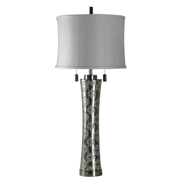 StyleCraft Borgatta Ceramic Table Lamp -Silver Table Lamp - White Softback Fabric Shade