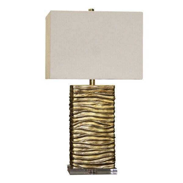 Jane Seymour Chateau Gold Table Lamp - White Hardback Fabric Shade