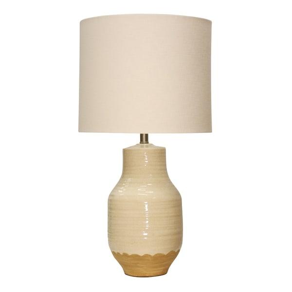 Prova Ceramic Beige Table Lamp - White Hardback Fabric Shade