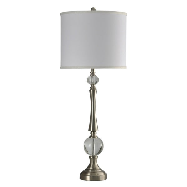 Caldera Stainless Steel Table Lamp With Crystal Gl White Hardback Fabric Shade