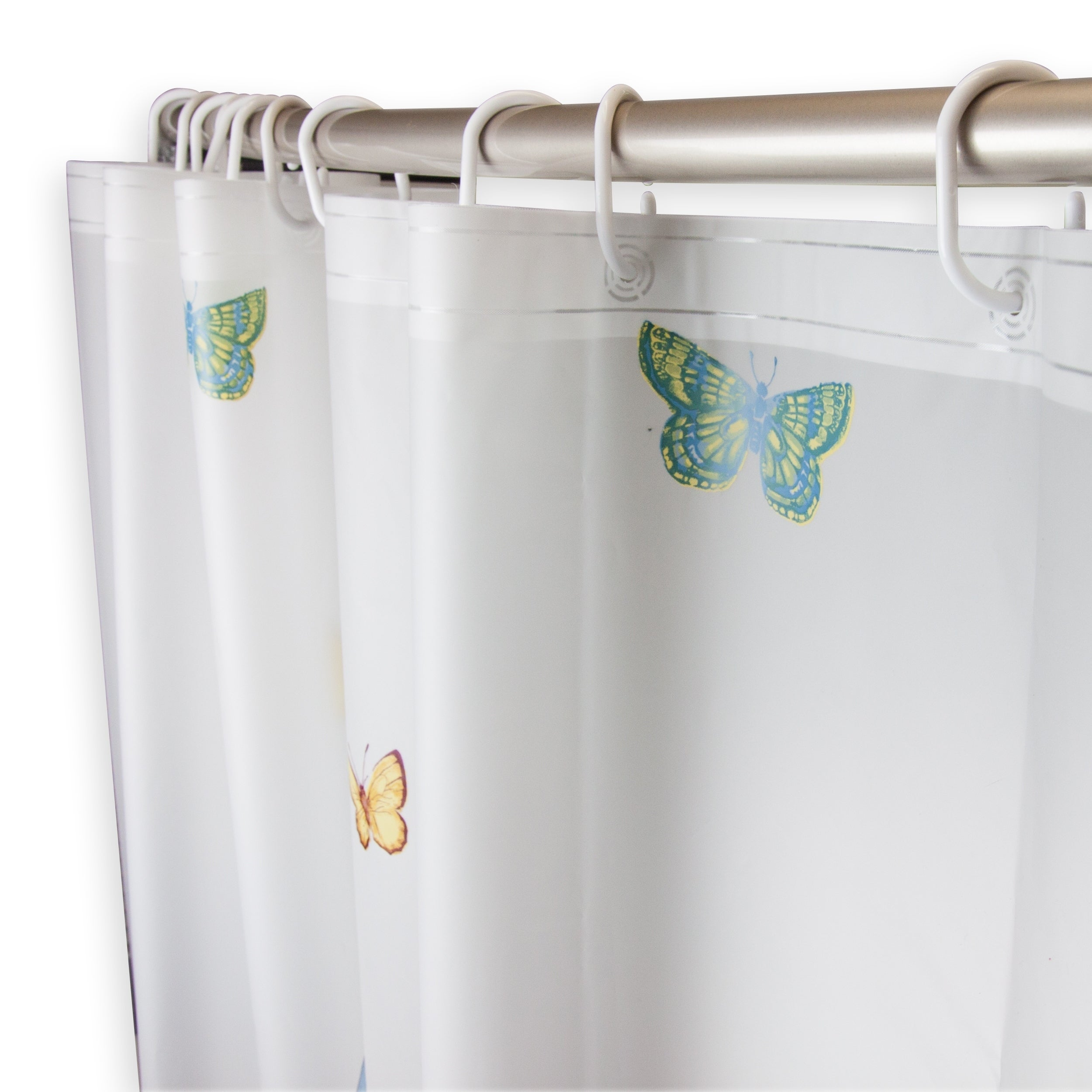 Valentine/'s Day Butterflies And Roses Bathroom Fabric Shower Curtain Set 71Inch