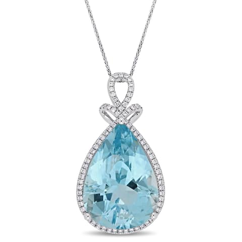 Miadora Signature Collection 14k White Gold Pear-Cut Sky Blue Topaz and 2/5ct TDW Diamond Halo Drop Necklace