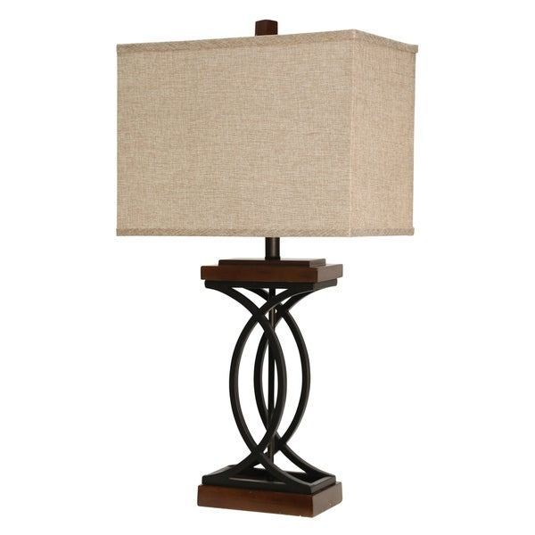 Chapel Hill Stained Wood And Black Table Lamp - Beige Hardback Fabric Shade