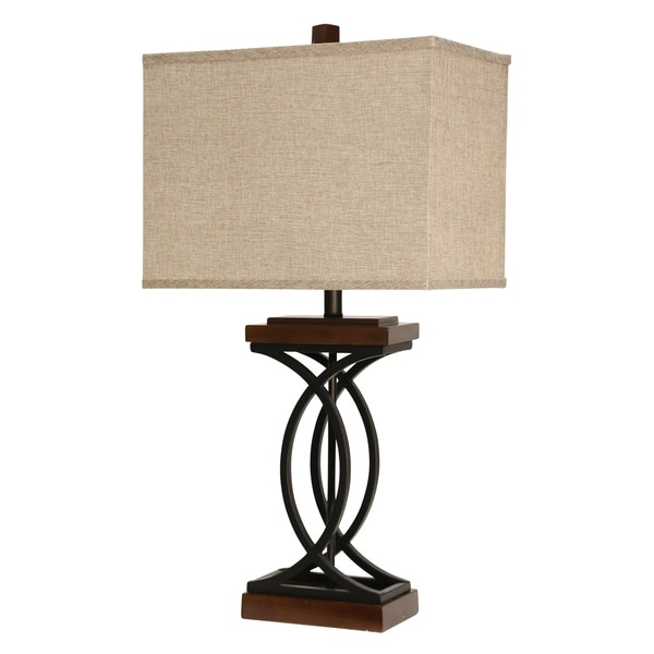StyleCraft Chapel Hill Stained Wood And Black Table Lamp - Beige Hardback Fabric Shade