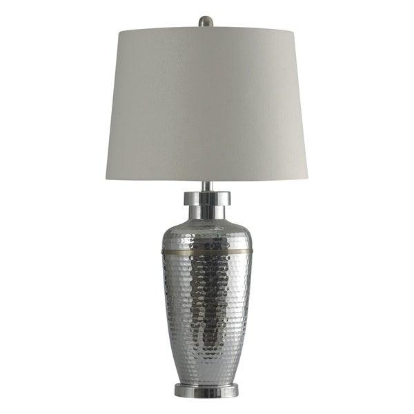 StyleCraft Arian Silver Table Lamp - White Hardback Fabric Shade