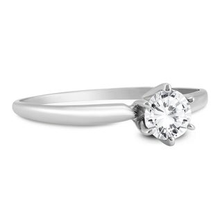 Almost 1/2 Carat Round Diamond Solitaire Ring in 14K White Gold