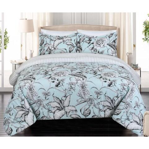 Nouvelle Home Sketch Floral Reversible Cotton Duvet Set