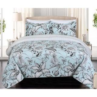 Nouvelle Home Sketch Floral Reversible Cotton Comforter Set
