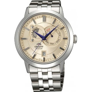 Orient Men's FET0P002W0 'Sun and Moon' Moonphase Automatic Stainless Steel Watch - champagne - N/A