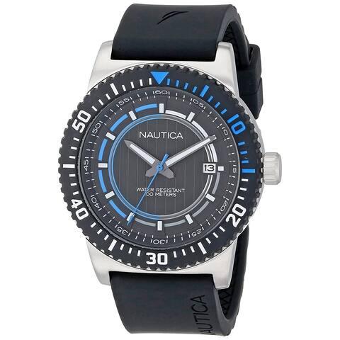 Nautica Unisex N12636G 'NST' Black Silicone Watch