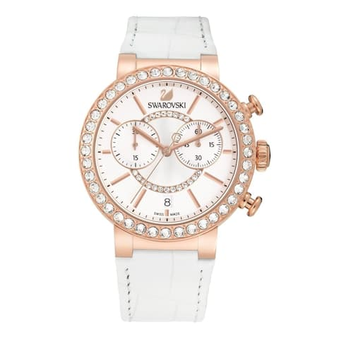Swarovski elements Women's 'Citra Sphere' Chronograph Crystal White Leather Watch - silver