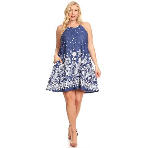 Women's Plus Size Abstract Floral Sleeveless Dress
