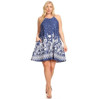 Women's Plus Size Abstract Floral Sleeveless Dress (3 options available)
