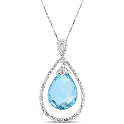 Miadora Signature Collection 14k White Gold Sky Blue Topaz and 3/4ct TDW Diamond Floating Halo Drop Necklace