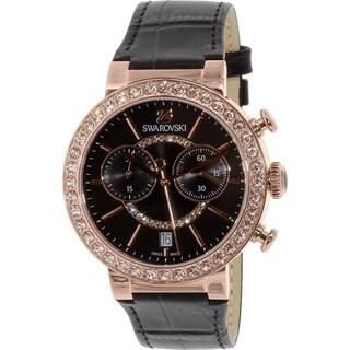 Swarovski Women's 5055209 'Citra Sphere' Chronograph Crystal Black Leather Watch - N/A