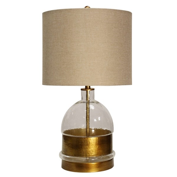 Midfield Glossy Clear Glass and Gold Table Lamp - Beige Hardback Fabric Shade