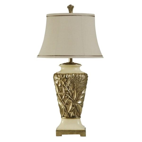 StyleCraft Dayton Gold And Cream Table Lamp - Cream Fabric Shade