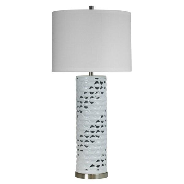 Beachbridge Ceramic White Gloss Table Lamp - White Hardback Fabric Shade