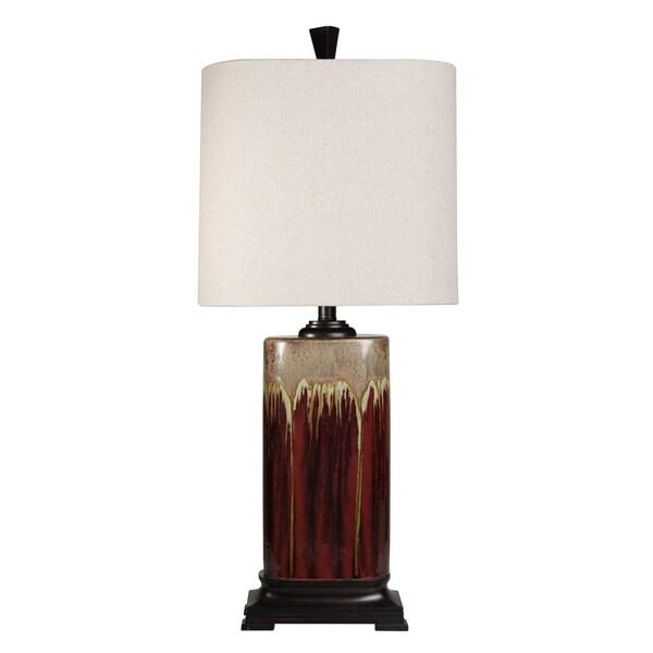 StyleCraft Tandoori Spice and Arabic Ceramic Dark Red And Tan Glaze Table Lamp - White Fabric Shade