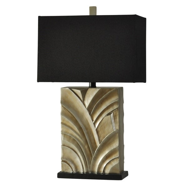 Ferris Park Contemporary Beige Table Lamp - White Hardback Fabric Shade