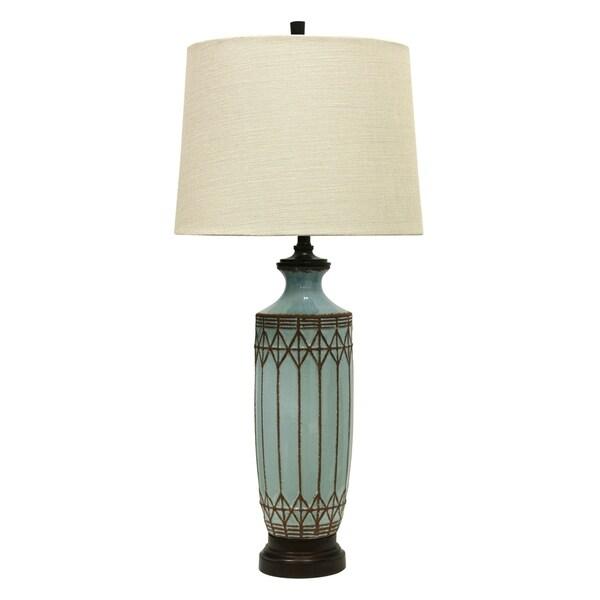 Costa Mesa Ceramic Dark Wood Table Lamp - Cream Hardback Fabric Shade