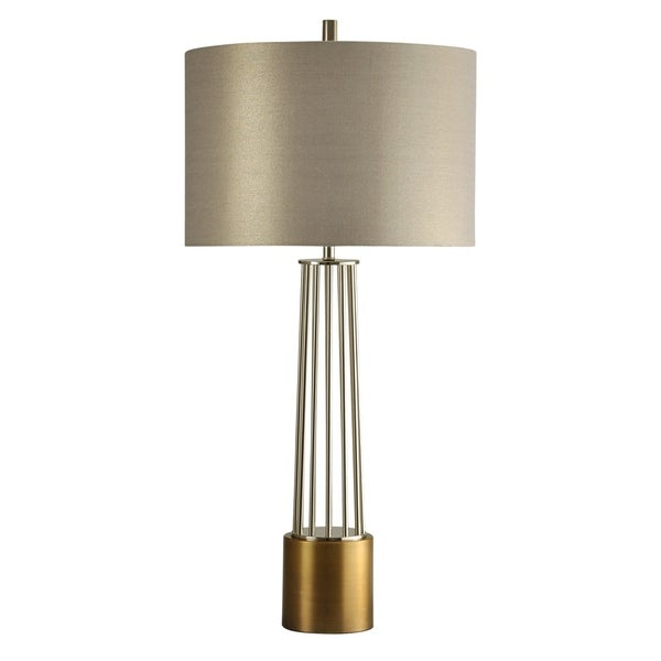 New Kirk Old Brass Table Lamp - Silver Hardback Fabric Shade