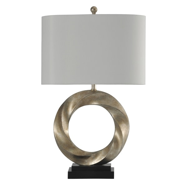 StyleCraft Laslo Contemporary Silver Table Lamp - White Hardback Fabric Shade
