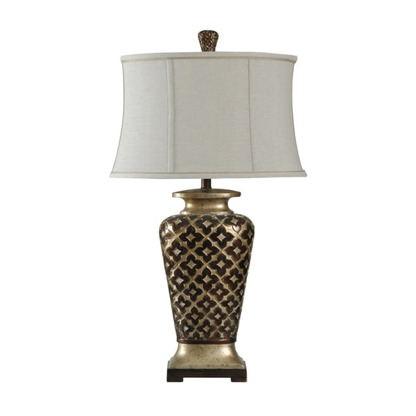 StyleCraft Barbados Bronze and Old Platinum Table Lamp - Taupe Softback Fabric Shade