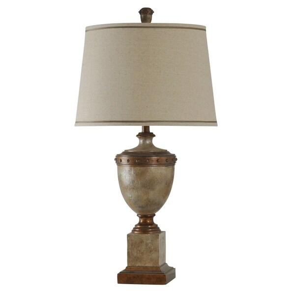 Brown Table Lamp - Beige Hardback Fabric Shade