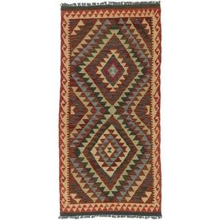 eCarpetGallery  Flat-weave Kashkoli Kilim Dark Red, Light Yellow Wool Kilim (3'3 x 6'11) - 3'3 x 6'11