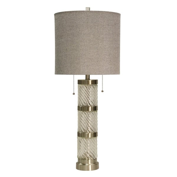 StyleCraft Clear and Brushed Steel Table Lamp - Taupe Hardback Fabric Shade